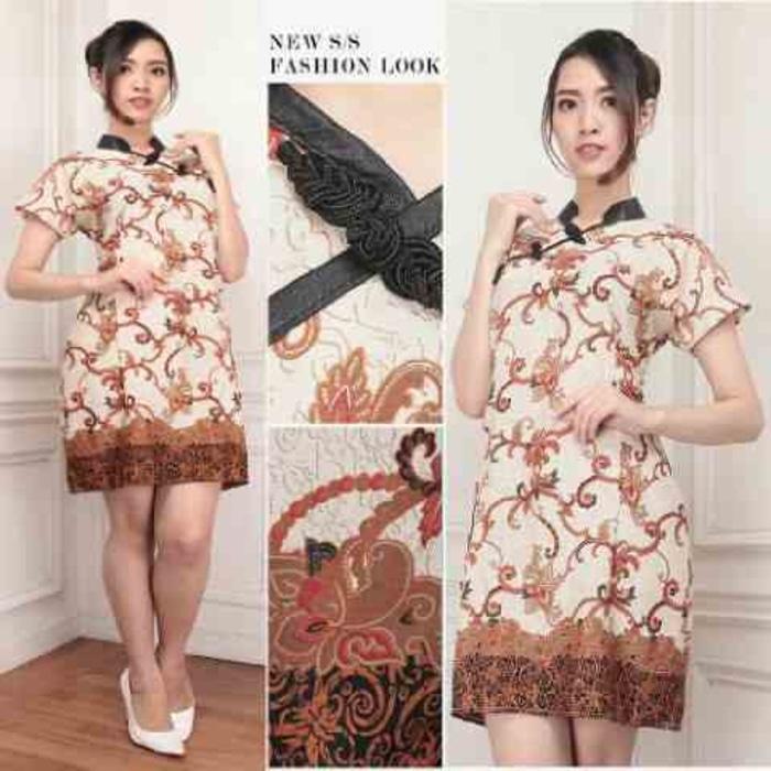 Terpopuler Pakaian Busana Wanita Baju Dress Cheongsam Batik Silk MURAH