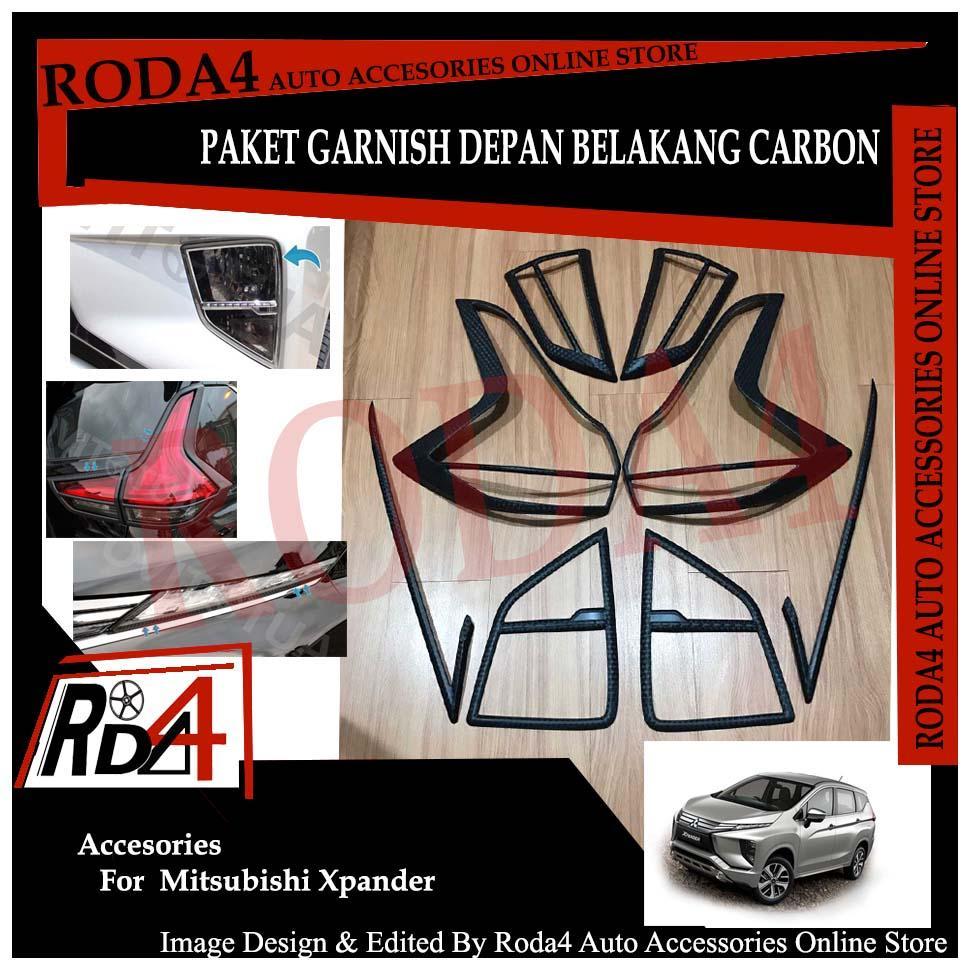 Aksesoris Eksterior Mobil Paket Garnish Lampu Depan Belakang dan List LED Xpander Carbon JSL Aksesoris Mobil Eksterior