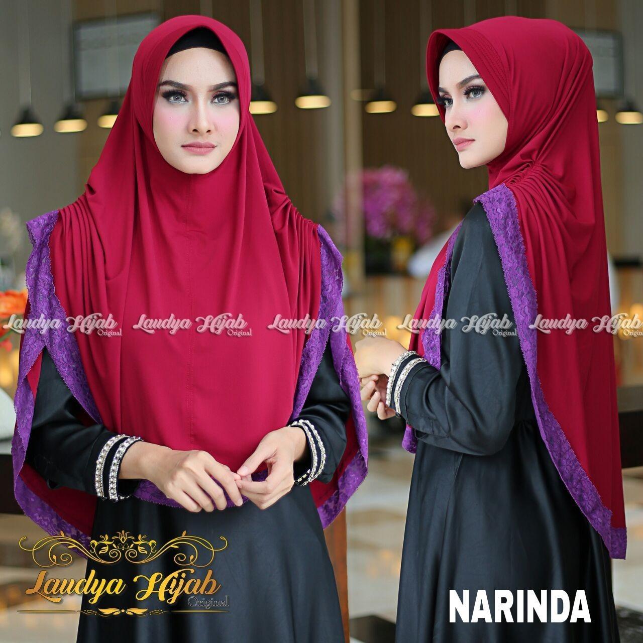 Kerudung hijab jilbab khimar syari polos renda jersey NARINDA