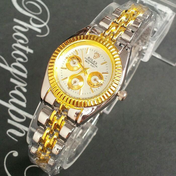 jam tangan wanita rolex murah / jtr 932 silver gold kecil