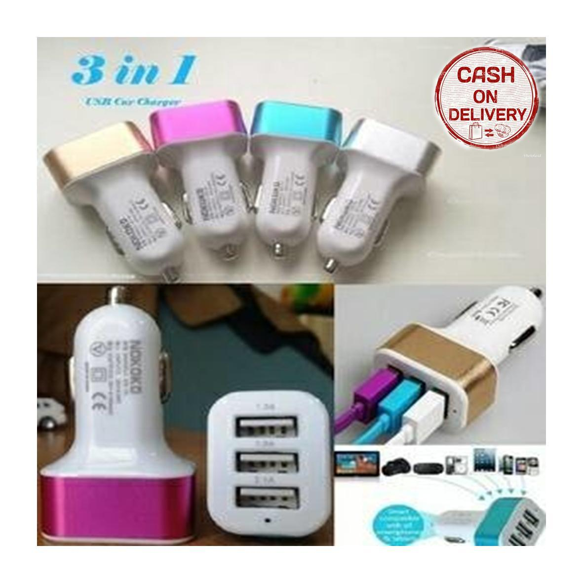 Kado Unik-- Car Charger 3 in 1 Port Usb Colokan Lighter Samsung Android Apple Mobil / Charger Mobil Multifungsi / Colokan Lighter / Charger Hp Di Mobil 3 Port / Fast Charger / Charger Mobil Serbaguna / Charger Mobil Portabel / Charger Mobil Murah