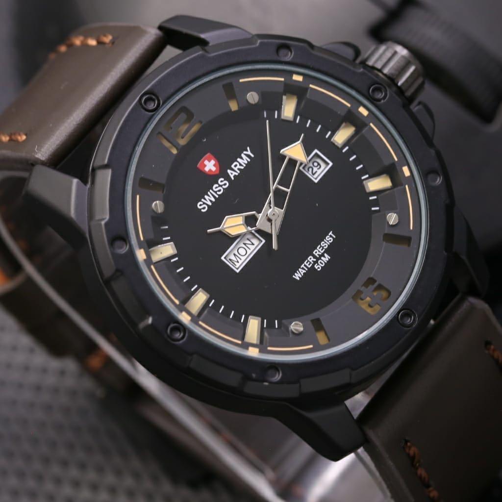 Swiss Army Jam Tangan Pria Hitam Strap Kulit Maskulin 1128hm Water Navy Rosegold Leather Sn 8647 Tali Fashion