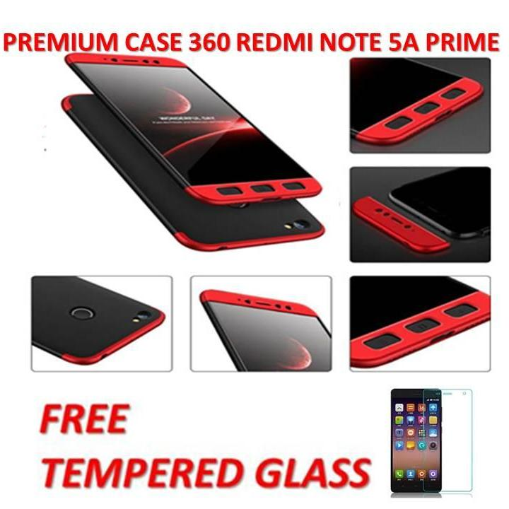 CASE HP 360  HITAM LIST MERAH /PREMIUM FRONT BACK 360 DEGREE FULL BODY PROTECTION CASE QUALITY GRADE A FOR  XIAOMI REDMI NOTE 5A PRIME / CASE DEPAN BELAKANG HITAM LIST MERAH FREE TEMPERED GLASS