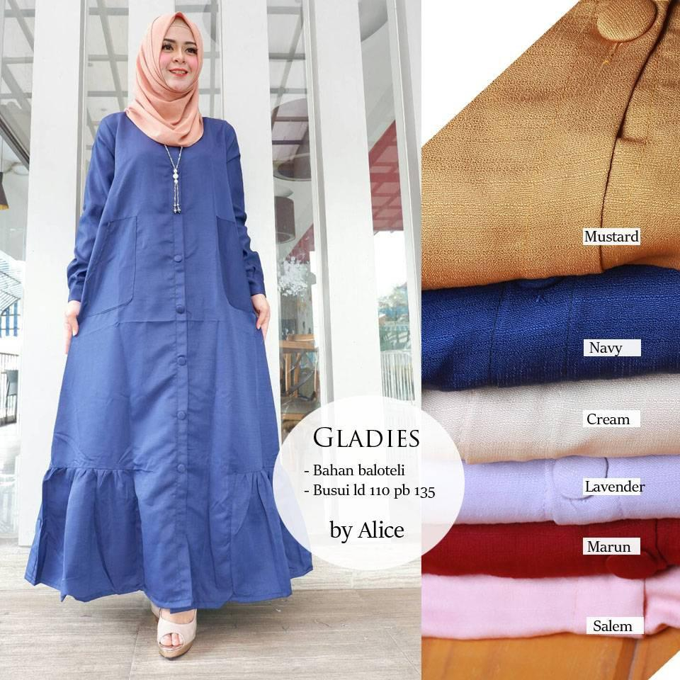 gladies dress ori alice gamis muslimah busui jumbo longdress maxy balotelli premium polos simple