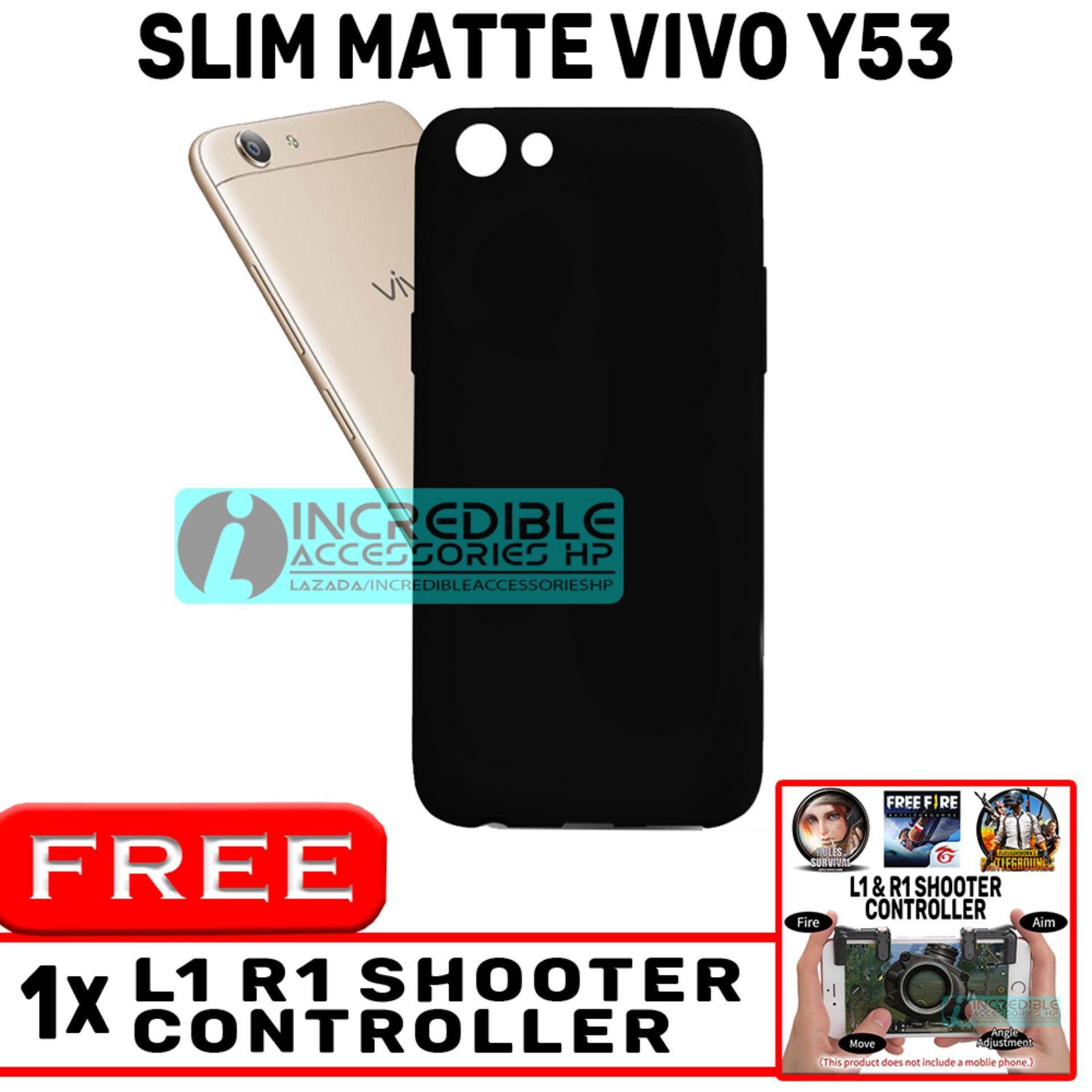 Slim Matte for Vivo Y53 Softcase Baby Skin Black Matte High Quality - Black + Free Tombol L1 R1 Untuk Main PUBG Mobile