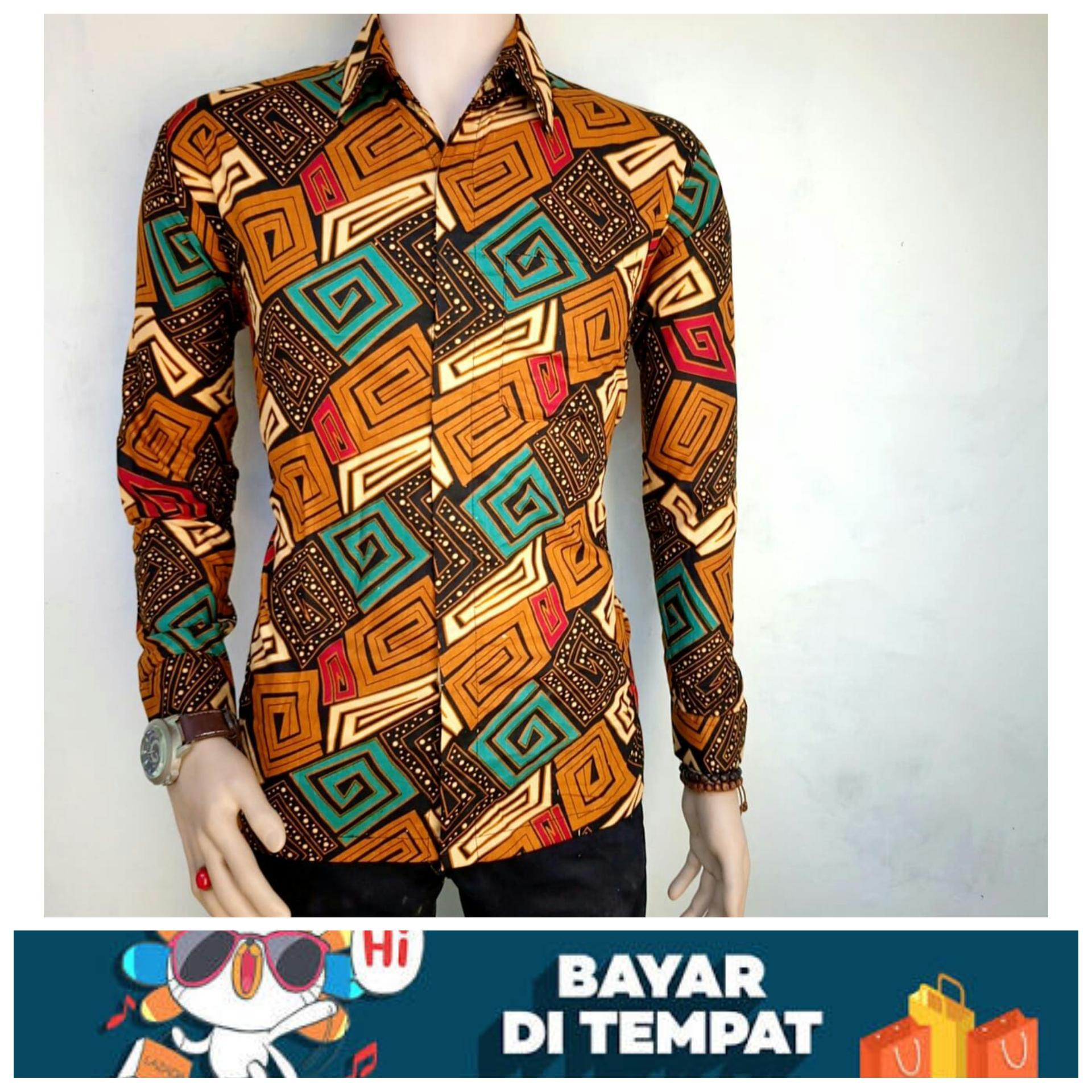 kemeja batik pria BATIK PEKALONGAN Kemeja Lengan Panjang Batik Eksklusif Baju Batik Motif G