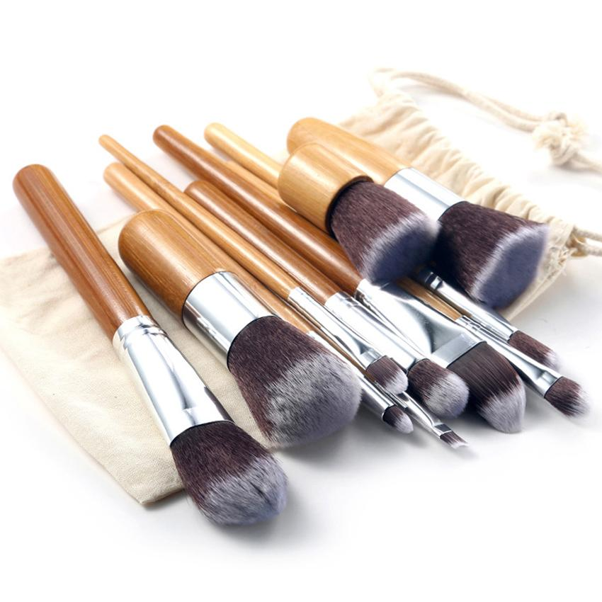 Vienna Linz Kuas Make Up Cosmetic Brush 11 Pcs with Pouch Professional Brushes Makeup Set Tool Blush Eyebrow Eyeliner Eyeshadow Foundation - Cream