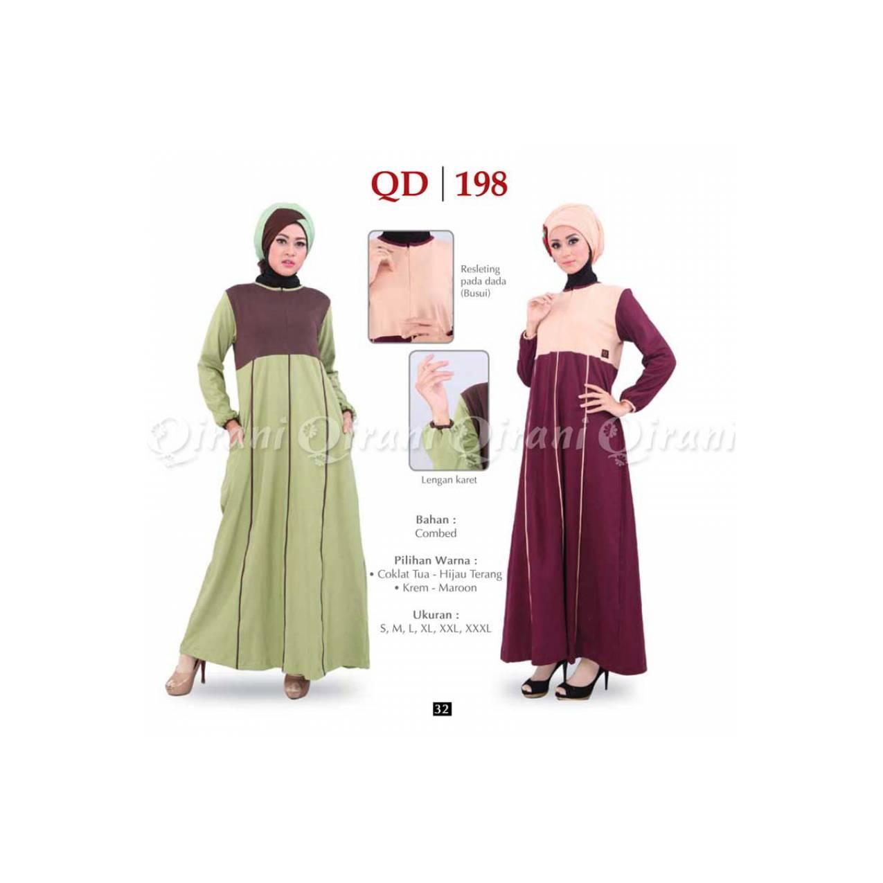 Baju Muslimah Gamis Murah Bahan Kaos QIRANI QD - 198