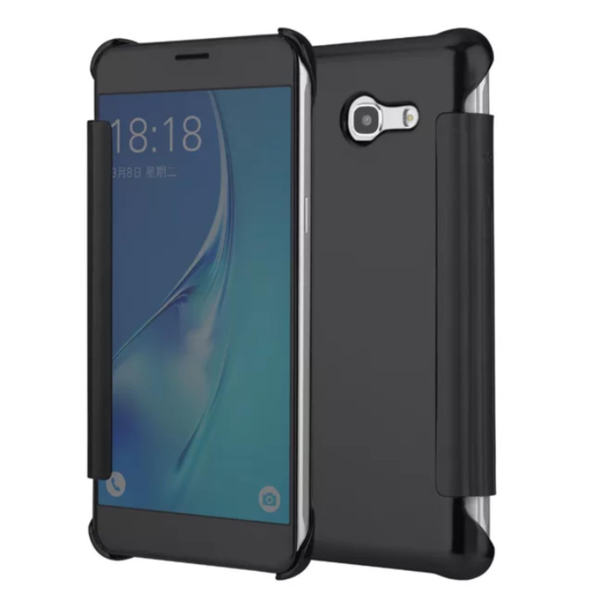 Mirror Flip Case For Samsung Galaxy J3 2017 / J3 Prime Flip Cover K-View Smart Sleep - Hitam