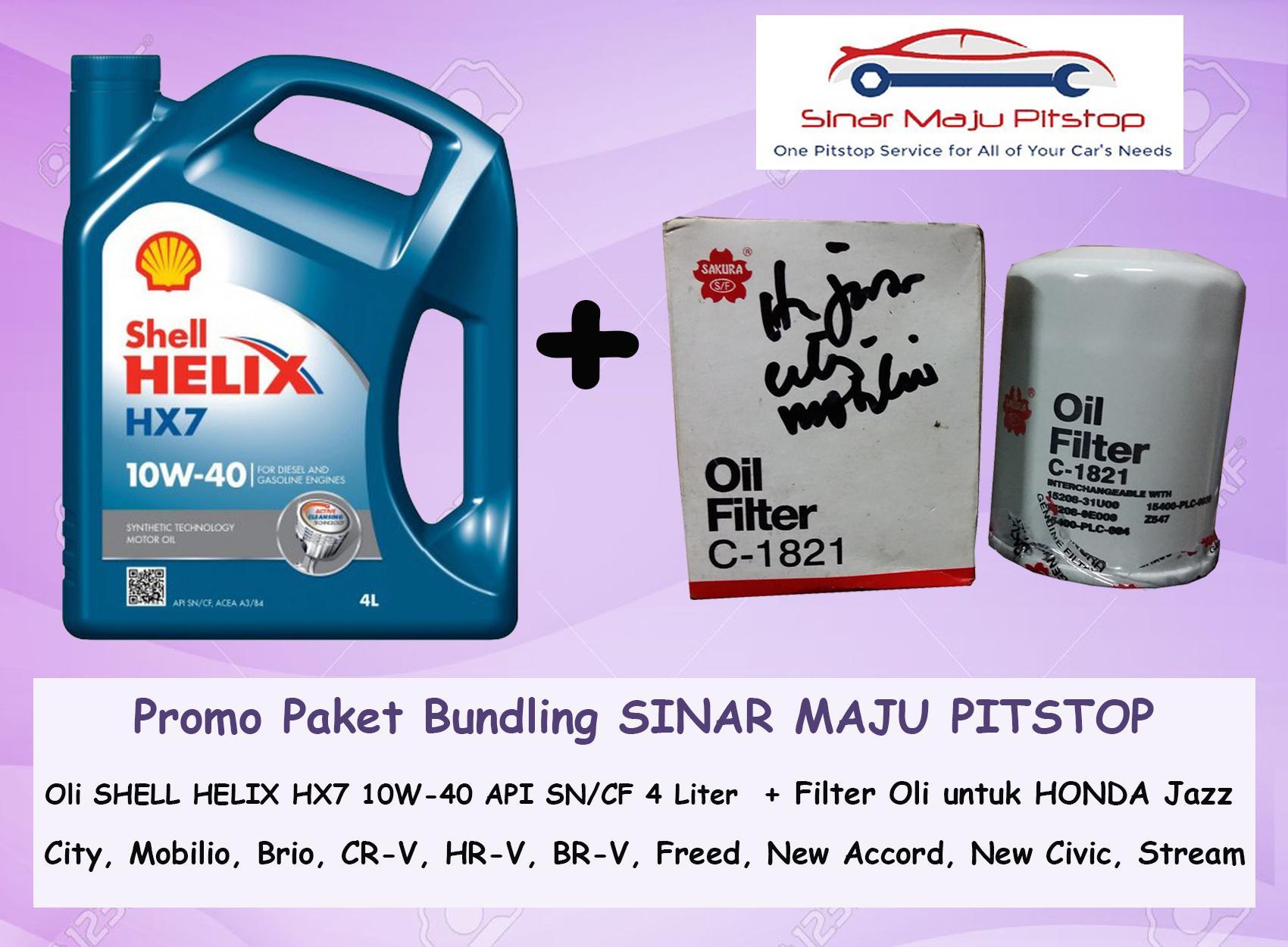 Paket Bundling Oli Mobil SHELL HELIX HX7 10W-40 API AN 4 LITER SEGEL ORIGINAL & Filter Oli HONDA FREED