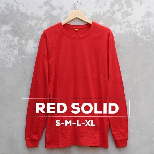 Baju Kaos Polos Pria Wanita 100% Cotton Combed 30S Lengan Panjang High Quality Warna RED