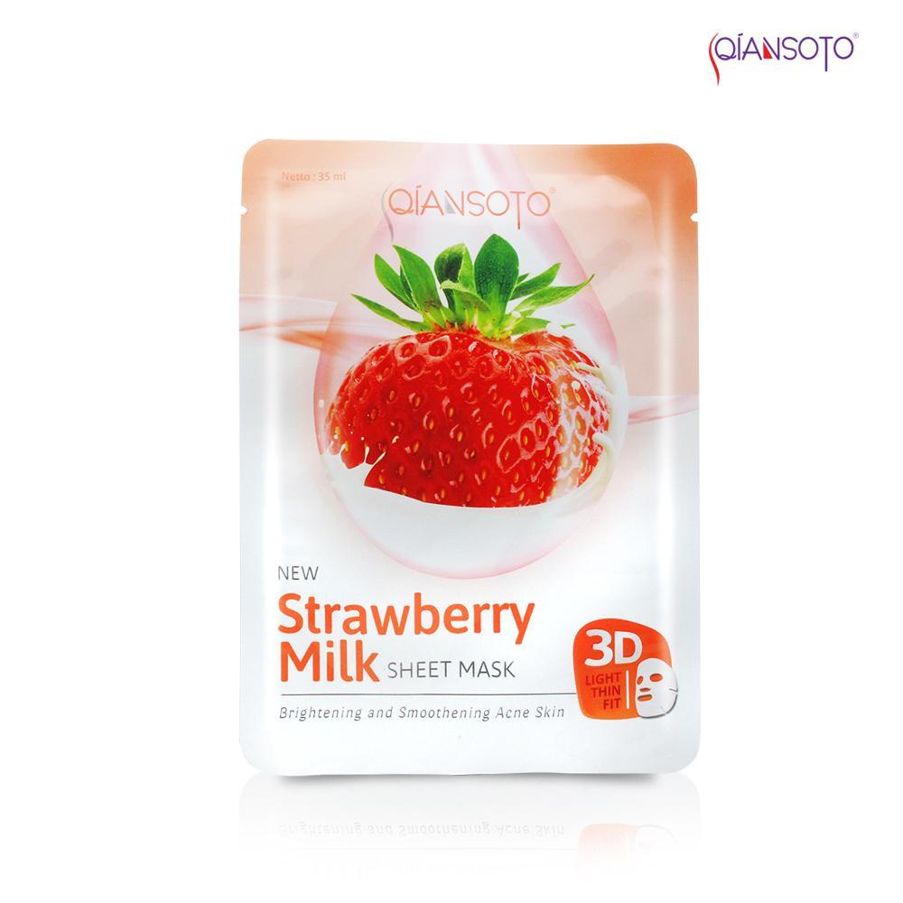 Masker Qiansoto Strawberry Milk Sheet Mask' Sachet 35 ml