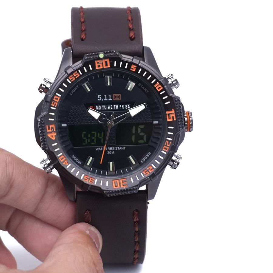 Jam tangan pria double time army 5.11 leather strap dual time digital analog tali kulit cowok