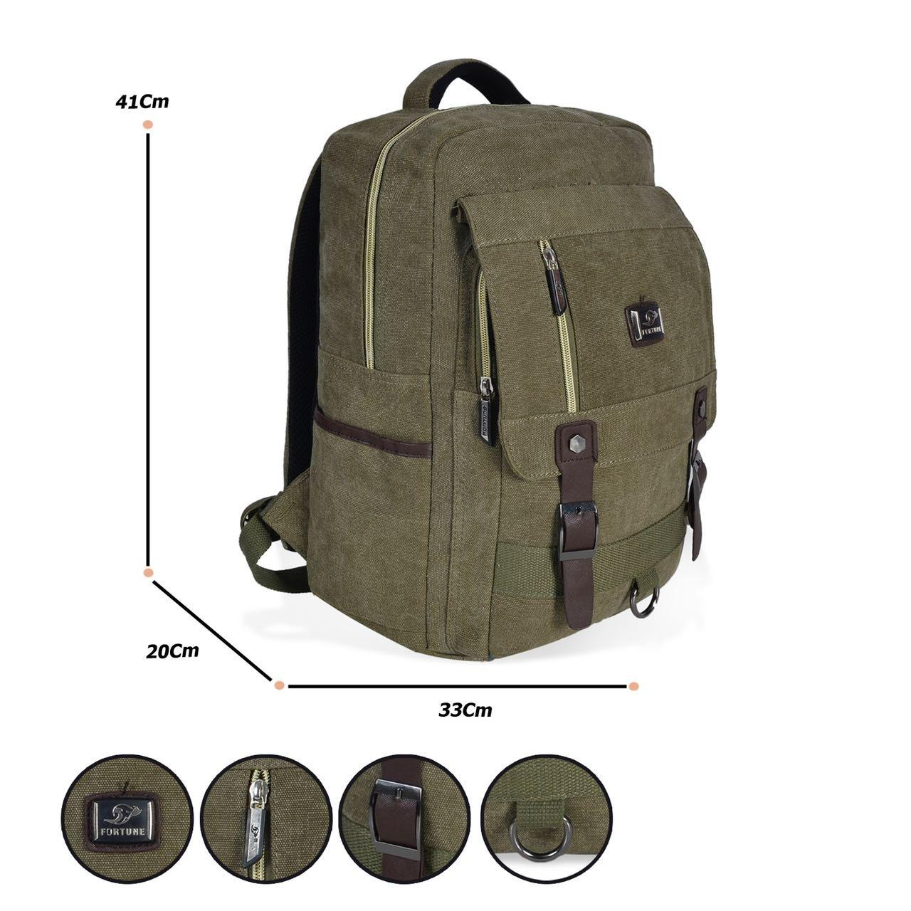 Fortune Ransel leptop korea style 3F100085 Hijau Army+Raincover