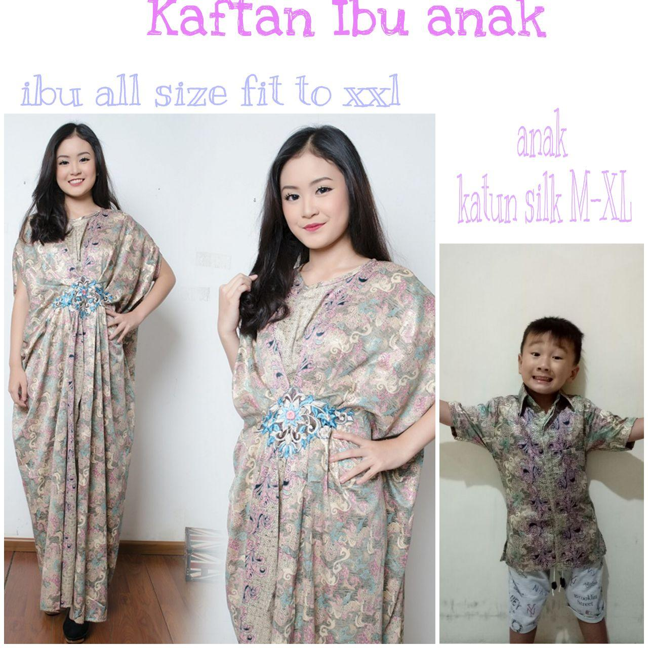 Cj collection Couple batik 2in1 dress maxi panjang gamis kaftan wanita jumbo long dress dan atasan kemeja pria anak shirt Prisda
