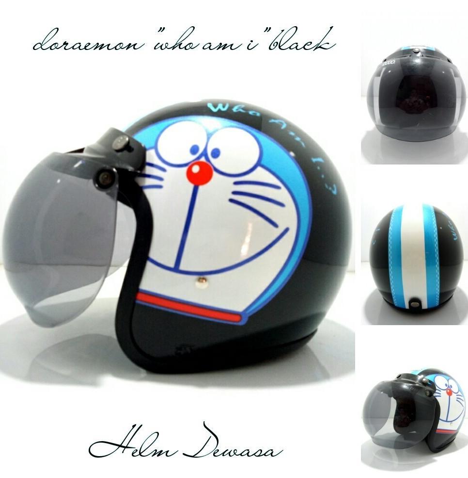 Moe Moe Helm Helm Bogo Retro Klasik SNI Motif Doraemon Who am i Black Kaca Bogo Ori