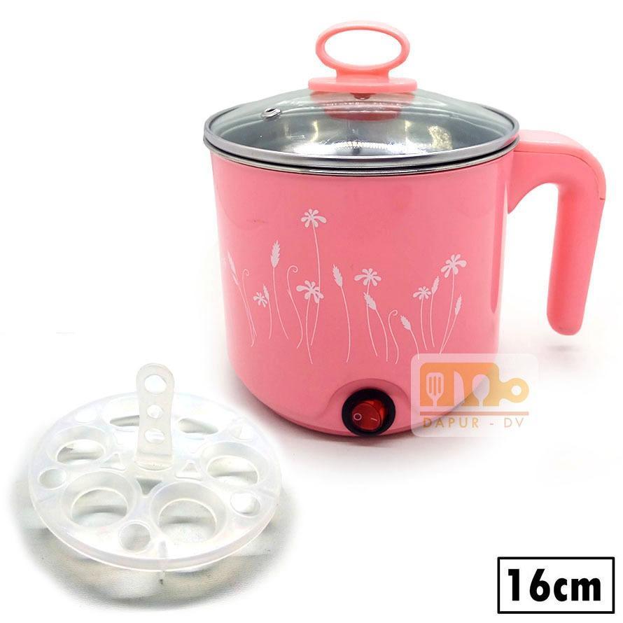 Panci listrik / teko listrik electric pot stainless steel 16 cm - pink