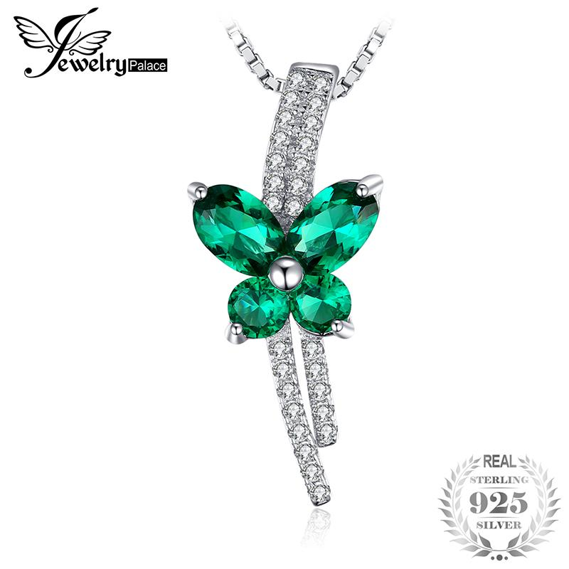 Jewelrypalace Butterfly 1.3ct Created Nano Russian Emerald Pendant 925 Sterling Silver Not Include A Chain