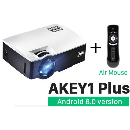 Rimas AUN AKEY1 Plus WiFi Proyektor 1080P 1800 Lumens Android 6.0 with Air Mouse - White