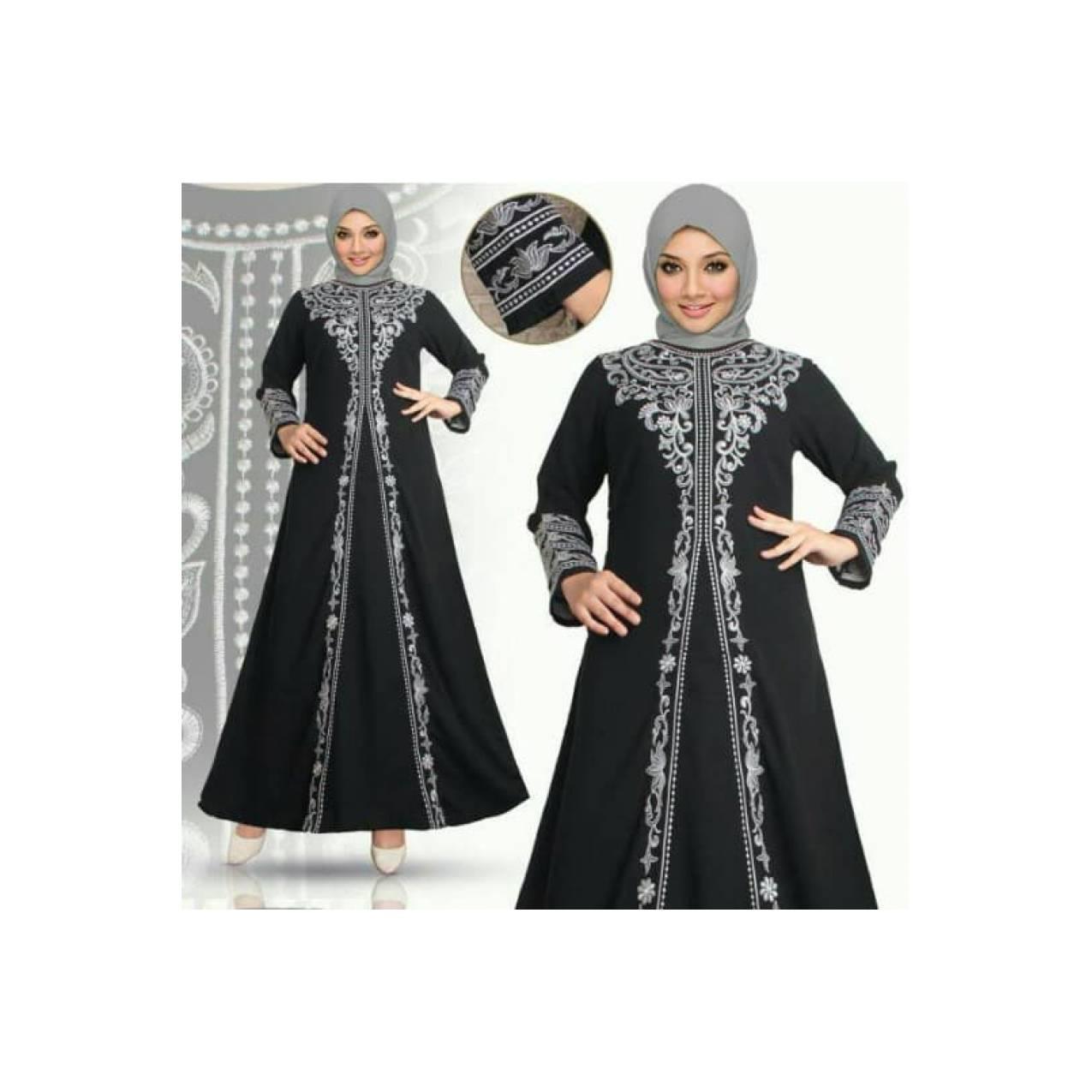 Gamis Abaya Arab Saudi Bordir Hitam Hajar S, M L, XL, XXL, XXXL, XXXXL - Hitam, S