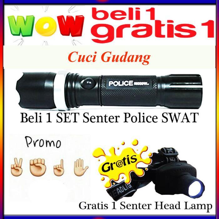 Senter Police Swat Double lalin Gratis Headlamp Senter Kepala