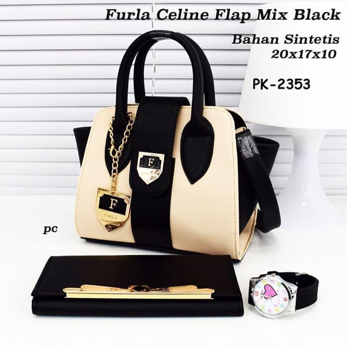 BEST SELLER!!! PK-2353 Tas Furla Strip Hitam Black Handbag Selempang (TAS SAJA) - lHE7tE