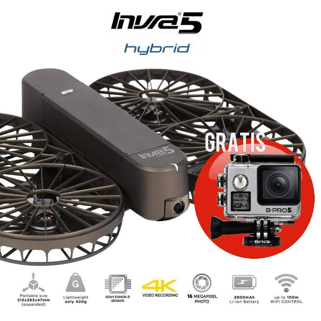Brica Invra5 Hybrid AirSelfie Drone - Black - Gratis B-PRO5 Alpha Edition Mark II - AE2 (HOT PROMO)