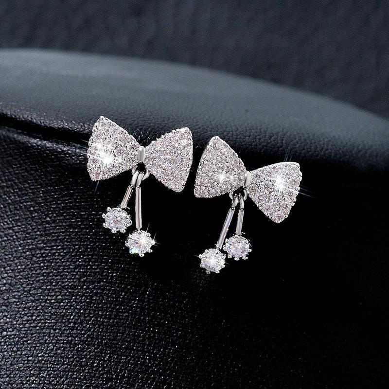 Anting Anting Korea Fashion Style Jarum Perak Elegan Busur