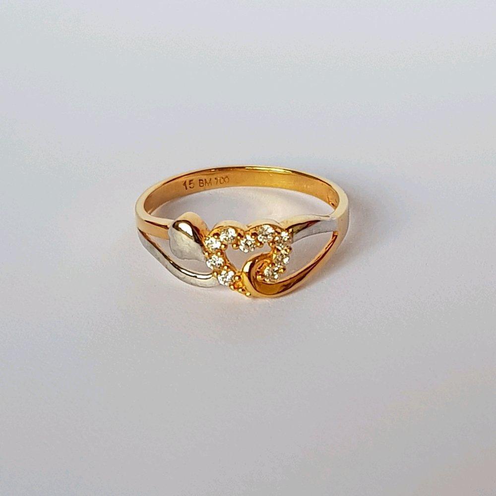 Size 155 Cincin Emas Asli Kadar 700 Love Twist 2 Tone Wanita Gold Ring Perhiasan