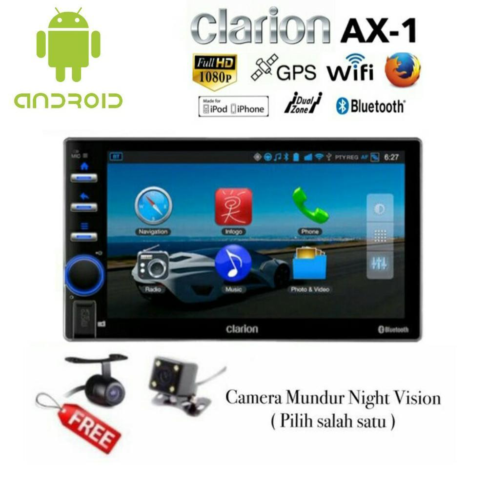 Paket Clarion AX-1 Sistem Android GPS Head Unit Tape Double din AX1 2-din Audio Mobil & Kamera Mund