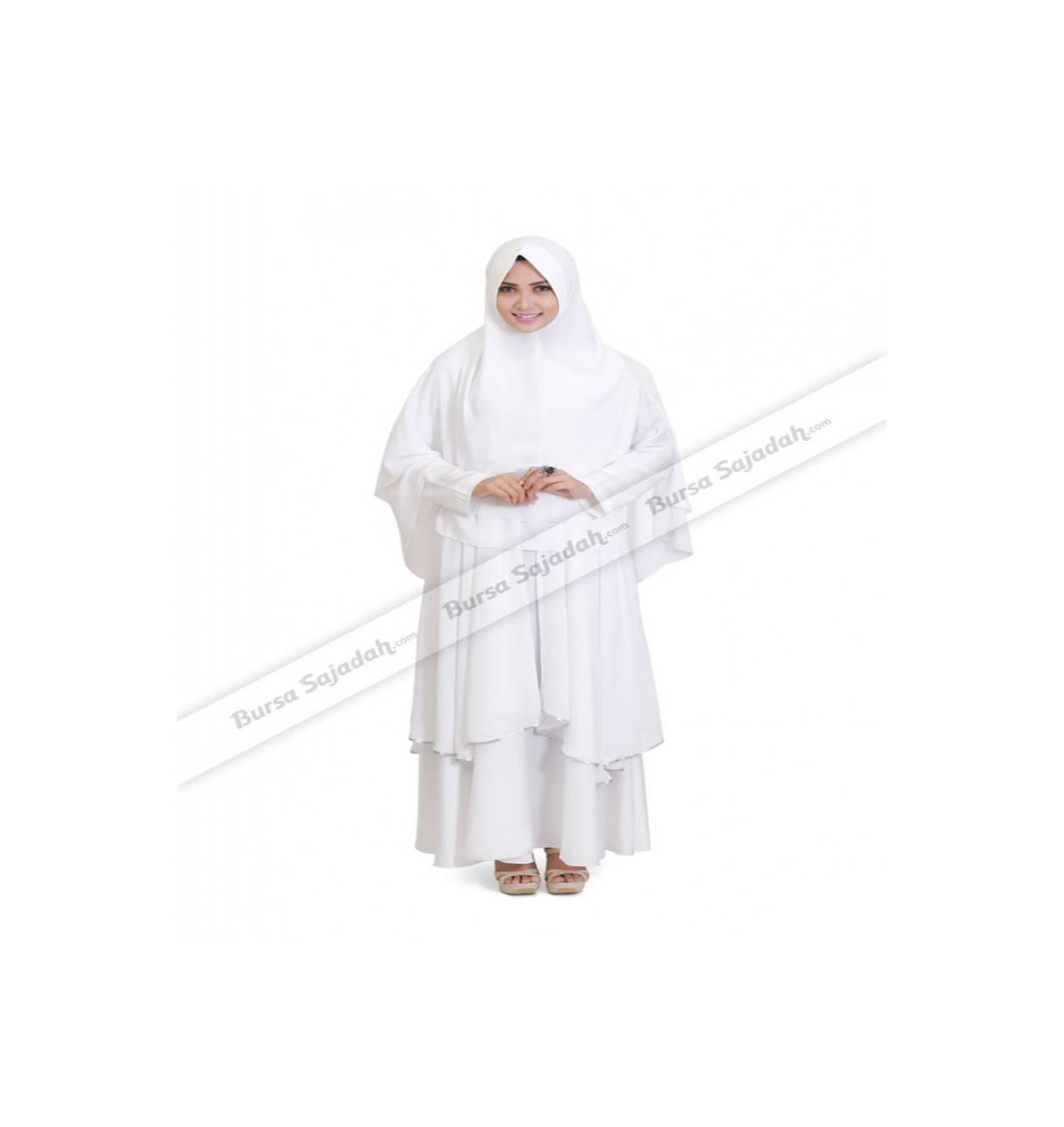 Fatima Sarimbit Syaheera - Baju Gamis Long Dress Wanita Warna Putih