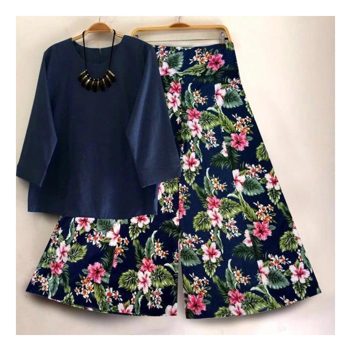 HARGA PROMO !! Baju dan Celana kulot bunga SET