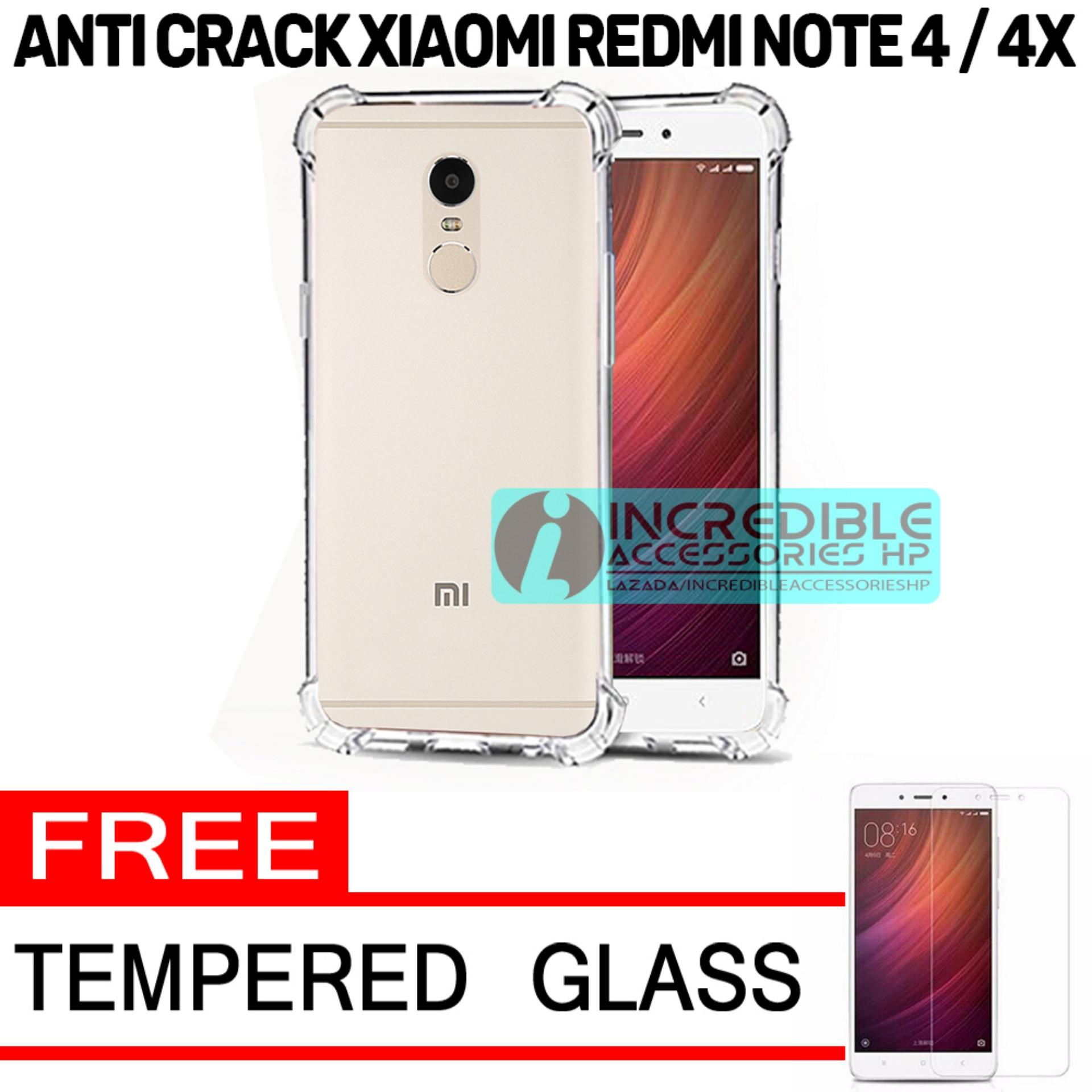 Case Anti Shock / Anti Crack Elegant Softcase  for Xiaomi Redmi Note 4 Snapdragon - White Clear + Free Tempered Glass