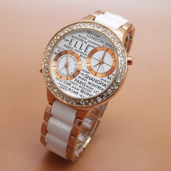 Jam Tangan Wanita / Cewek Elle Fashion Ladies Rantai White Rose| AMO Store