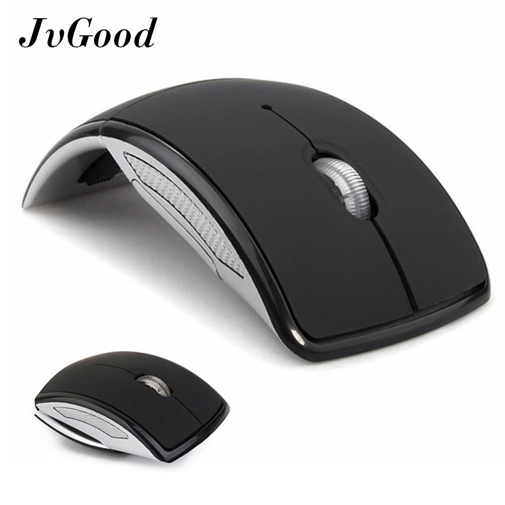 JvGood Laptop Tikus 2.4 GHz Wireless Foldable Folding Arc Mice Optical Portable Mouse with USB Receiver for Laptop Notebook PC Computer MacBook, Black
