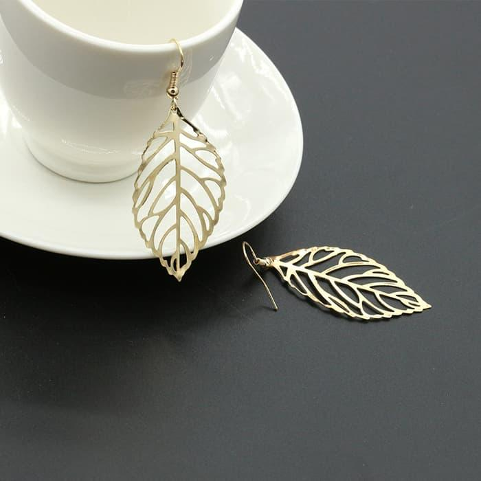 PROMO SAAT INI anting daun emas / gold earrings leaf JAN008 TERLARIS
