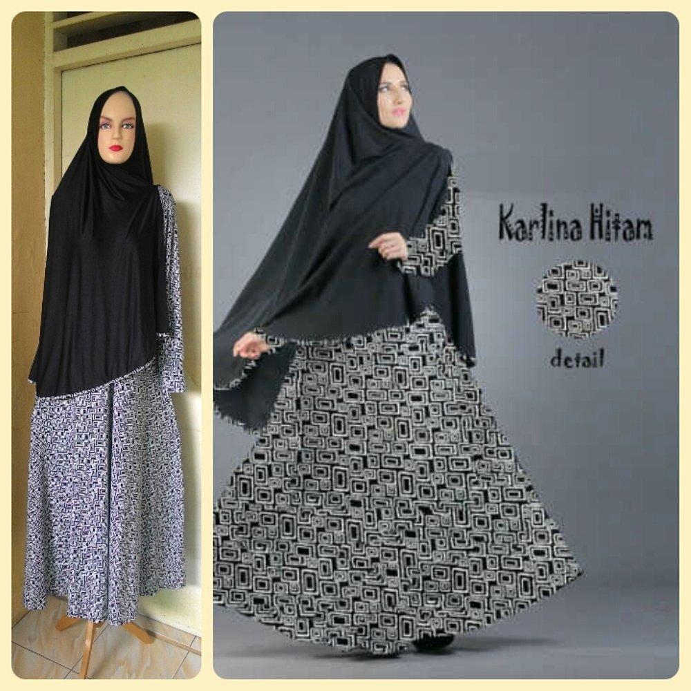Gamis Syari Murah Karlina Hitam (cantik,terbaru,modis) di lapak Raja Busana Muslim rajabusanamuslim