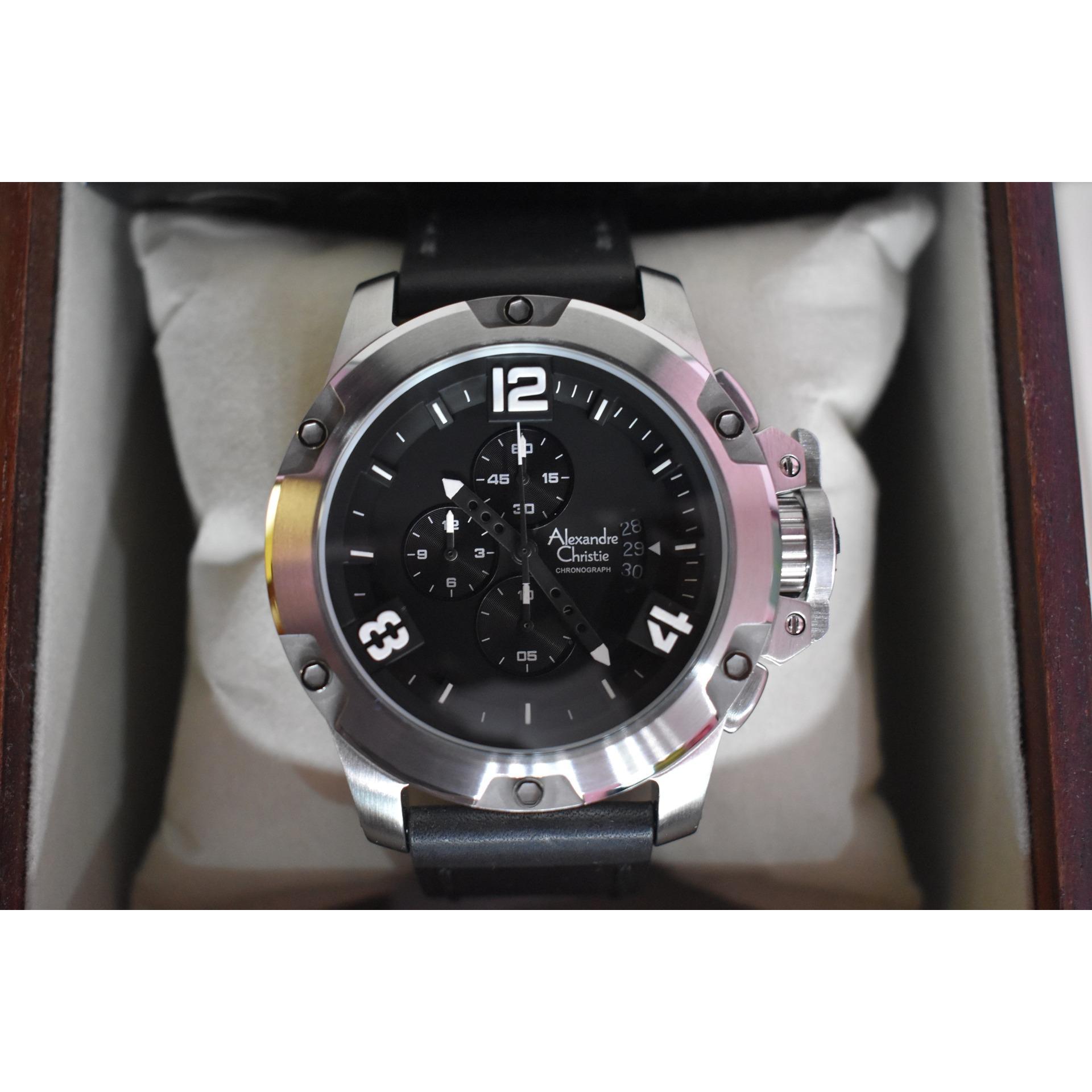 Jam Tangan Alexandre Christie AC 6295 MC AC6295 Silver Black Leather