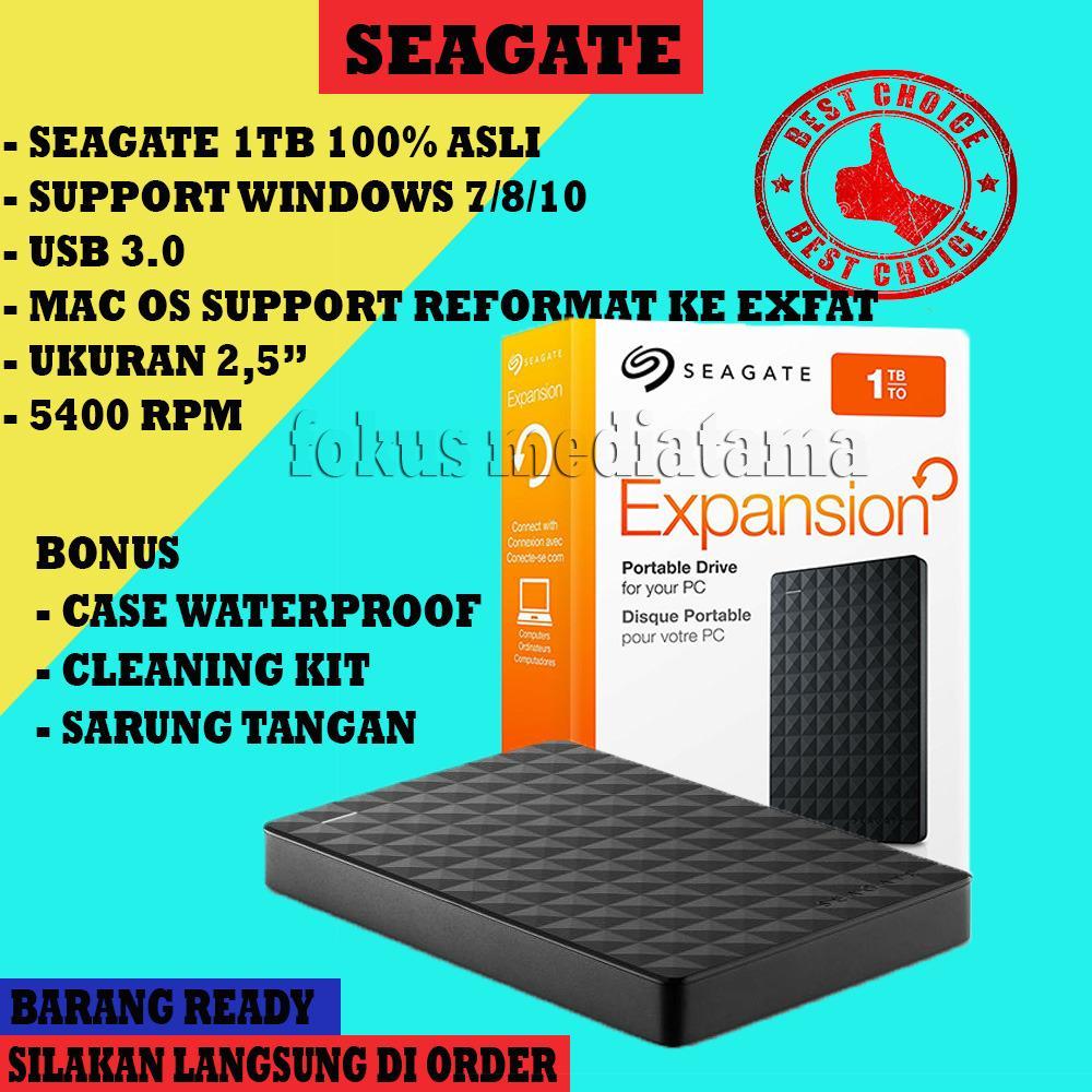 Hardisk / HDD External Seagate Expansion 1Tb Usb 3.0 + Gratis Case Waterproof + Cleaning Kit + Sarung Tangan