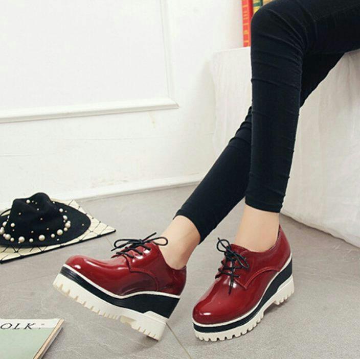 Sepatu Kets Boots Wanita Maroon Karys4 ID33
