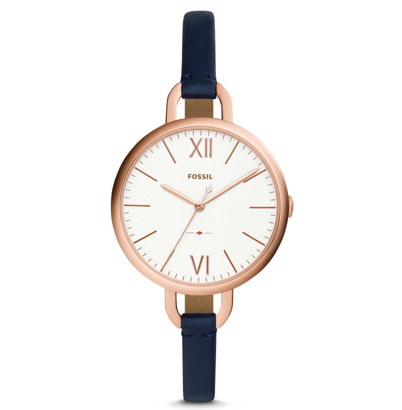 Jual Jam Tangan Fossil Terbaru Jr1487 Pria Original Annette Navy Leather Watch Es 4355