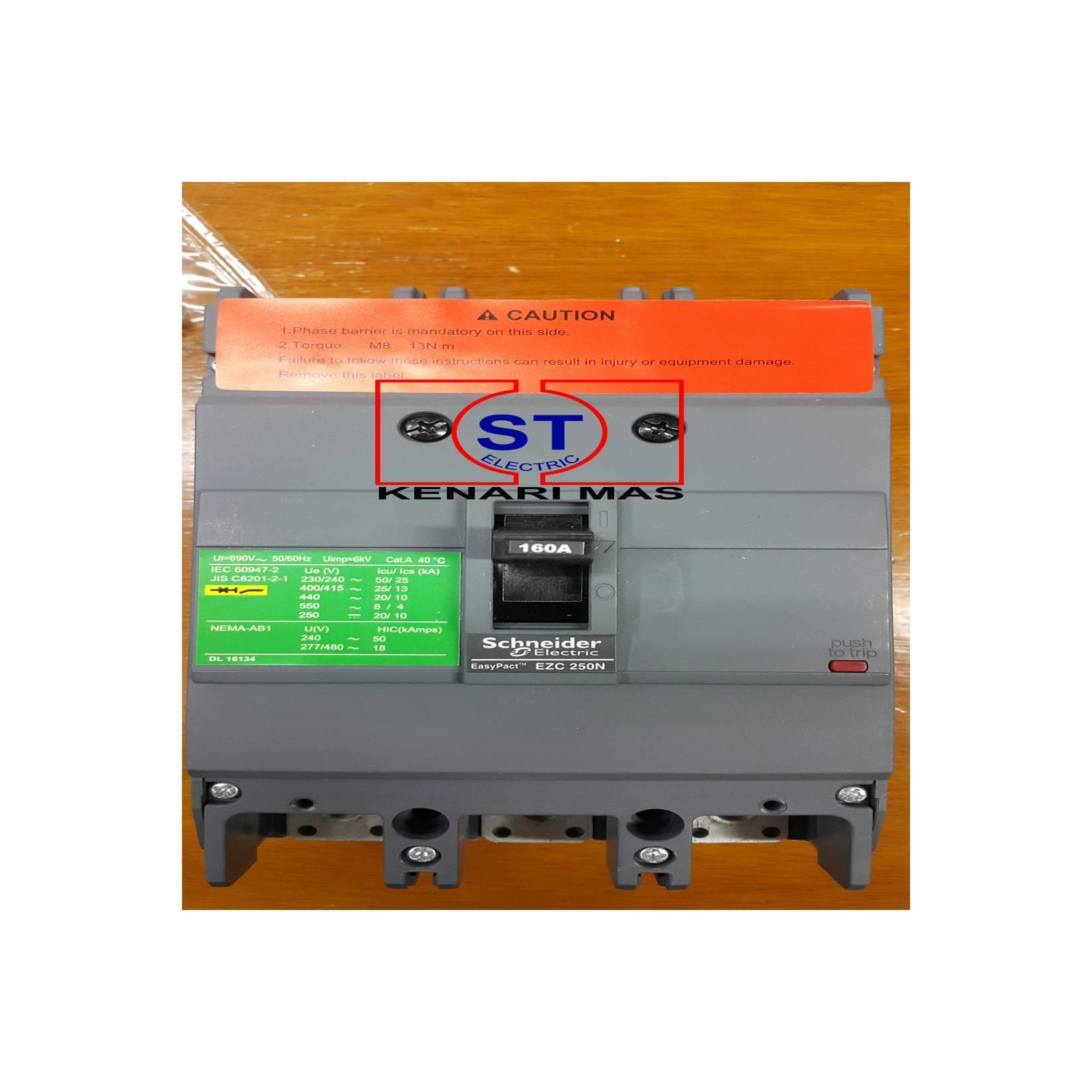 MCCB EZC250N 3x160 Amper Schneider Eazy Pact EZC250N3160 3P 160A