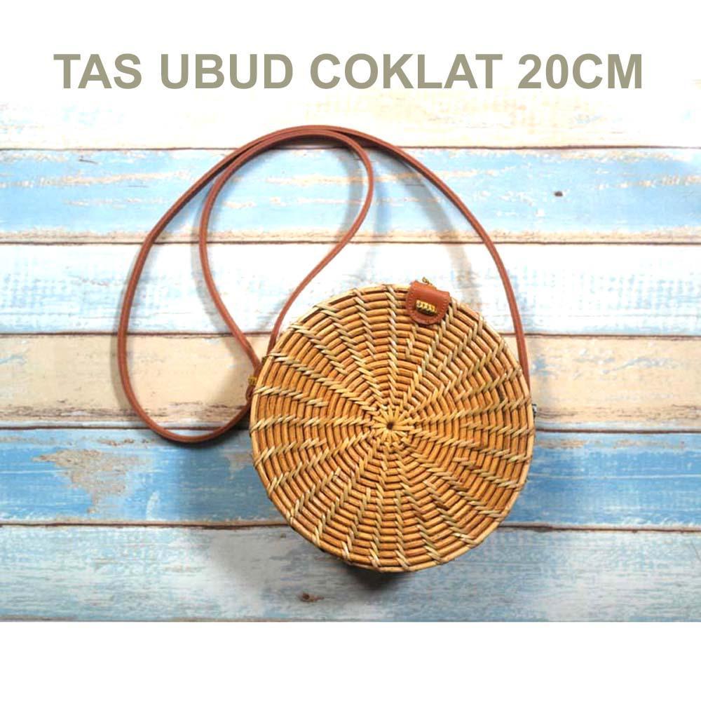 TERMURAH Tas Rotan Ate Bulat Bali 20cm  - Ubud Coklat
