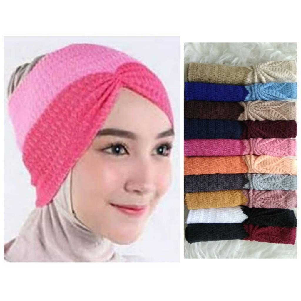 Buy Sell Cheapest Bandana Risty Rajut Best Quality Product Deals Two Tone Kerut Nasywa Collection Inner 2 Warna