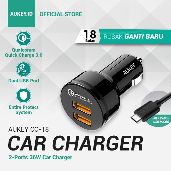 [BIRTHDAY DEALS] Aukey Car Charger CC-T8 Qualcomm Technology - 2 Ports (