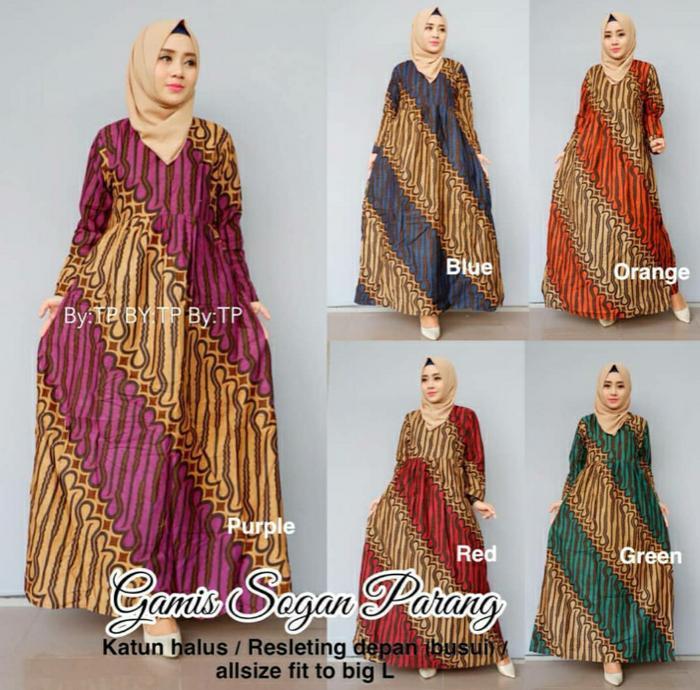 Dress Batik Solo. Gamis Batik Sogan Parang Series