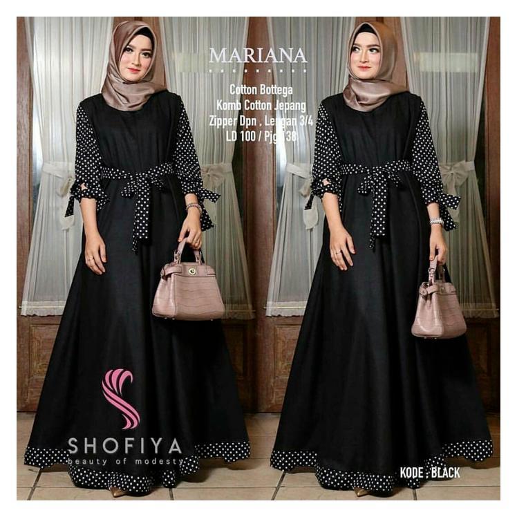 Baju Mariana Polka Dress Hitam /Grosir Baju Muslim Gamis Long Maxi Dre