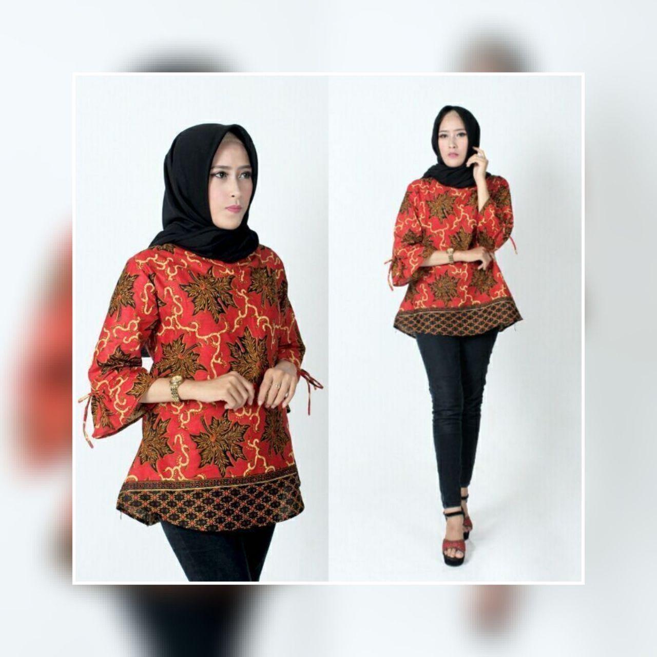 Blus Batik Wanita Atasan Batik Seragam Guru Batik Baju Kerja Modern