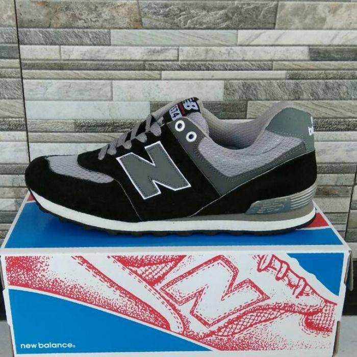Sepatu Kets Sneakers Pria Casual New Balance Abu-Abu Hitam Sport Cowok Murah