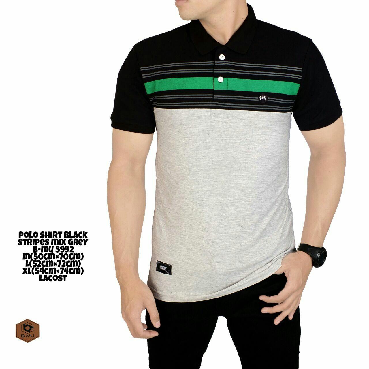 the most - kaos polo shirt kerah black mix grey lines green / garis hijau pria casual kaos polo kaos adem kaos pria T-shirt pria kaos distro bandung kaos distro keren putih merah navy kombinasi 2 warna